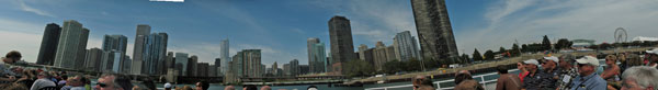 View of Chicago skyline from architectural tour boat at mouth of Chicago River
