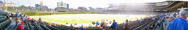 Wrigley Field, Cubs vs. Giants. Third base line, Aisle 106. Cubs won