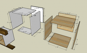 SketchUp mockups of the cabinets