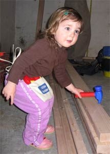 Ella helping with framing
