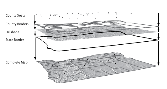 Illustrating the combination of layers on a thematic map