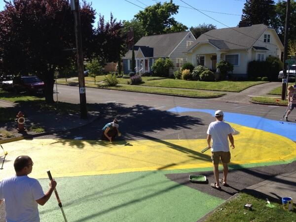 Tweet: Hour 1 of street painting. Didn't buy enough yello…