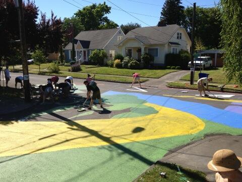 Tweet: Street painting at 10:45am. #nopo #arborlodge. Nee…
