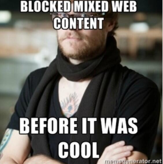 Tweet: Hipster #IE7 blocked mixed content before it was c…