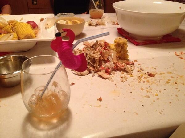 Tweet: Neighbor crab boil. So damn good. Yes, the flaming…